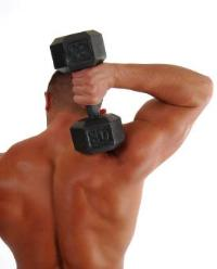 strength training with dumbbell